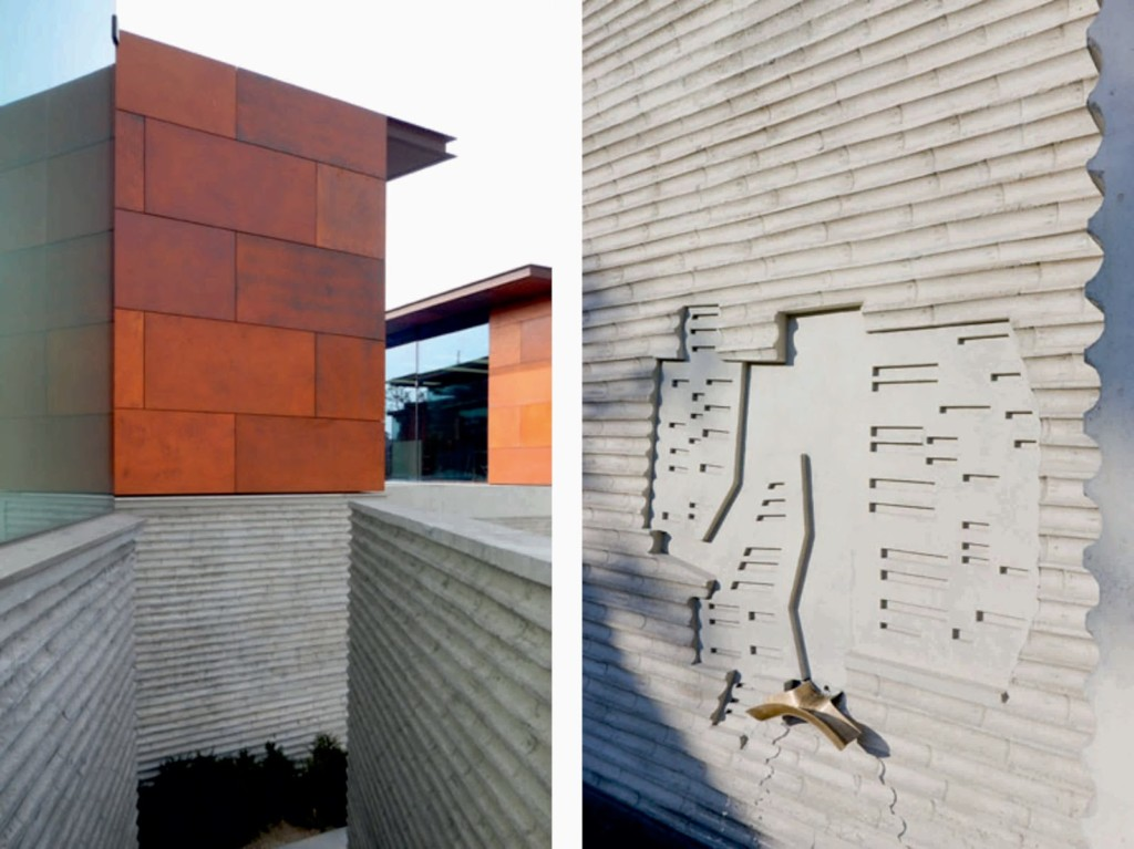 Daeyang Gallery and House, by Steven Holl05 detalle concreto y acero corten